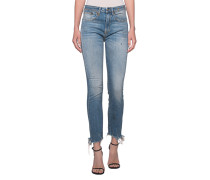 Destroyed Slim-Fit Jeans  // Jenny Mid Rise Distressed Blue