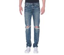 Slim-Fit Jeans im Destroyed-Look  // Mitoyo Light Wash