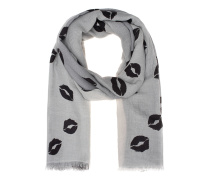 Fine Ring Pashmina Lips Grey