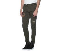 Chino-Hose im Destroyed-Look  // Chino Patches Oliv