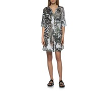Leinen-Hemdkleid mit Palmen-Motiven
