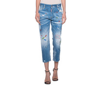 Boyfriend 7/8 Jeans mit bunten Prints  // Boyfriend Print Blue