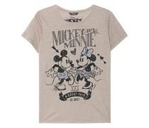 Bedrucktes Leinen-T-Shirt mit Strasssteinen