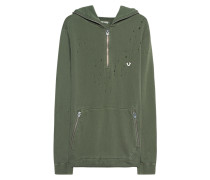 Zipper-Hoodie im Destroyed-Look