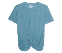 Leinen-Mix T-Shirt mit Knoten-Detail