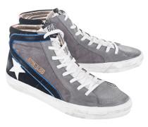 Flache Veloursleder-Sneaker  // Slide Lavagna Suede/White Star