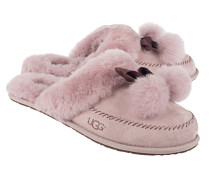 Shearling-Slippers mit Bommel