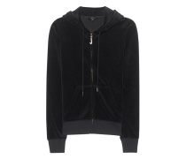 Samt-Hoodie mit Strass-Detail  // J Bling Robertson Pitch Black
