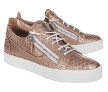 Flache Leder-Sneaker mit Struktur  // May London Pergola Ramino Bronze