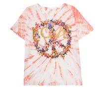 Bedrucktes Batik-T-Shirt mit Strasssteinen