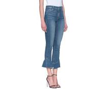 Skinny-Jeans mit ausgefranstem Volant-Saum  // Flora Straight Blue