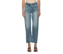 Destroyed Straight-Fit Wide-Leg Jeans
