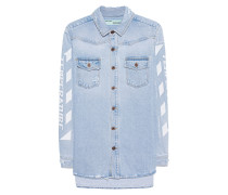Jeans-Hemd mit Print  // Denim Temperature Blue