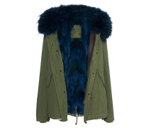 Parka-Jacke mit Fellfutter  // Army Mini Patch Coyote Blue