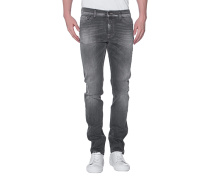 Washed-Out Slim-Fit Jeans  // Ronnie American Moonlight Dark Grey