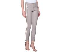 Glattleder-Hose mit Streifen-Details