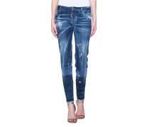 Bestickte Jeans mit Destroyed-Details  // Skinny Jean Flower