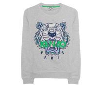 Sweatshirt mit aufgesticktem Tiger  // Sweater Tiger Grey