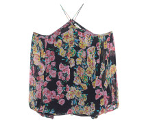 Off-Shoulder Top aus Seide  // Off Shoulder Flower Black