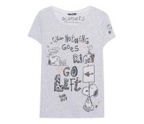 T-Shirt mit Pailletten und Strass  // Go Left Peanuts Light Grey