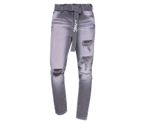 Destroyed Slim-Fit Jeans mit Gürtel