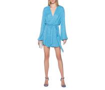 Handgenähtes Pailletten-Kleid mit Samtgürtel