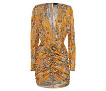 Gerafftes Seiden-Kleid mit Blumen-Musterung