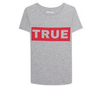 Meliertes Baumwoll-T-Shirt mit Logoprint  // Statement Grey Marl