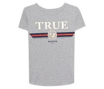 Baumwoll-T-Shirt mit Print  // Boxy Crew Artwork Grey