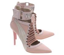 Spitze Lederpumps  // Lace Up Heel Silver Pink
