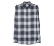 Kariertes Baumwoll-Hemd  // Concealed Button Grey