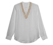 Leinen-Bluse mit Perlen-Verzierung