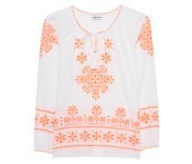 Baumwoll-Bluse mit Stickerei  // Grace Neon White