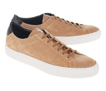 Flache Veloursleder-Sneakers  // Retro Low Suede Tan