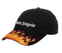 Cap mit Label- und Flammen-Stickerei