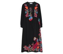 Baumwoll-Kleid mit Stickerei  // Embroidery Tassel Black