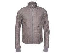 Lederjacke mit Stehkragen  // Calf Leather Basic Grey