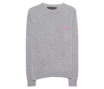 Kaschmir-Pullover  // Pink Embroidered Simple Crew Grey