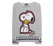 Woll-Mix-Pullover mit Snoopy-Motiv  // Snoopy Hug White Smoke