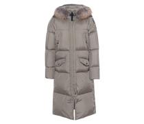 Daunen-Mantel mit Echtfell-Besatz