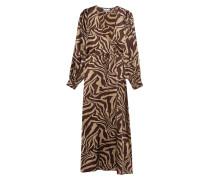 Gemustertes Wickel-Kleid aus Seiden-Stretch