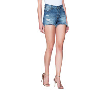 Destroyed Denim-Shorts  // Fringed Blue