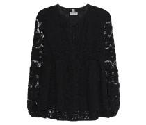 Baumwoll-Bluse mit Spitze  // Tunic Flower Lace Black
