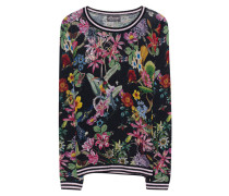 Wolle-Kaschmir-Pullover  // Flower Animal Print Black