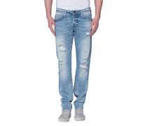 Destroyed Slim Leg Jeans  // Rocco Light Blue Denim Comfort
