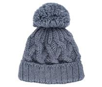 Zopfstrick-Mütze mit Bommel  // Lozenge Grey