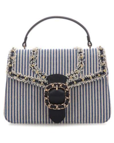 Tiberina Handtasche blau/weiß