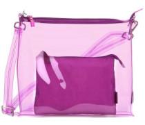 Transparent 2tlg Schultertasche violett