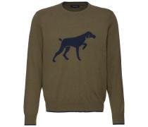 Rundhals-Pullover mit Hundemotiv