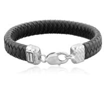 Armband Lederband Karabiner Geflochten 925er Silber